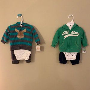 2 Carter's brand 3 piece sets- 3 month old